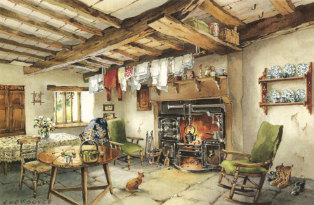 This Shows A Way Of Life Typical Of Earlier Times In Windermere, Cumbria    An Old Kitchen Range Warms The Working Living Room, Complete With Clothes  Airing ...